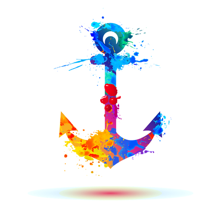 Illustration for anchor of watercolor rainbow splash paint - Royalty Free Image