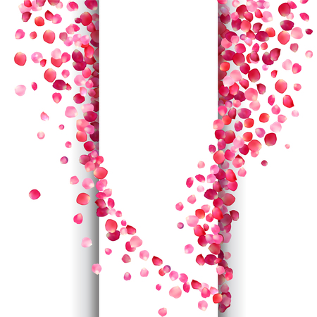 Vector white background with pink rose petals waves