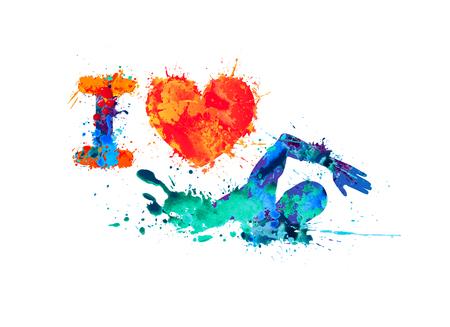 I love swimming. Swimmer of watercolor splash paint