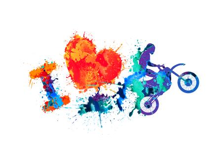 Illustration pour I love motorcycling. Watercolor splash paint sign - image libre de droit