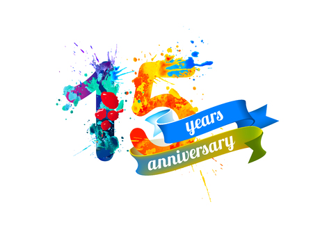 Ilustración de 15 (fifteen) years anniversary. Vector watercolor splash paint - Imagen libre de derechos