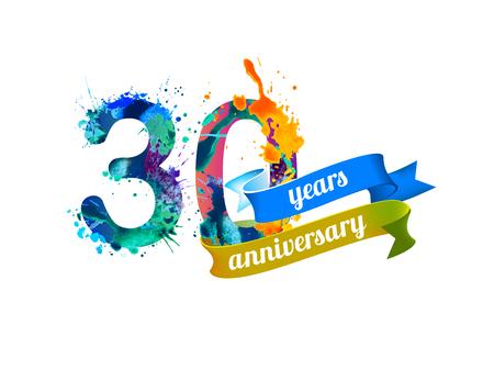 Illustration pour 30 (thirty) years anniversary. Vector watercolor splash paint - image libre de droit