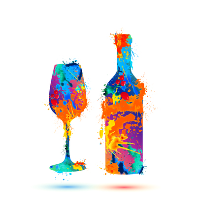Ilustración de Wine glass and bottle. Vector splash paint - Imagen libre de derechos