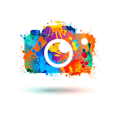 Illustration for Photo camera icon. Vector watercolor splash illustration - Royalty Free Image