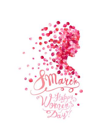 Illustration pour 8 march. Happy Women's Day! Silhouette of a woman of pink rose petals - image libre de droit