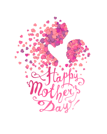 Illustration for Happy Mother's Day! Woman and baby made of hearts - Royalty Free Image