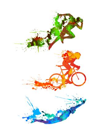 Triathlon vector watercolor set. Splash paint silhouettes