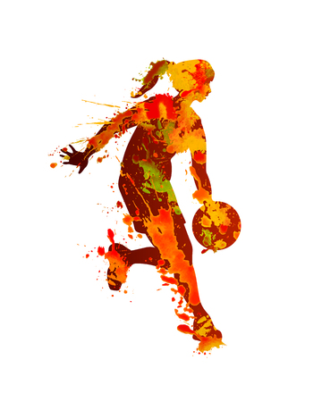 Ilustración de Woman basketball player. Splash watercolor paint on a white background - Imagen libre de derechos