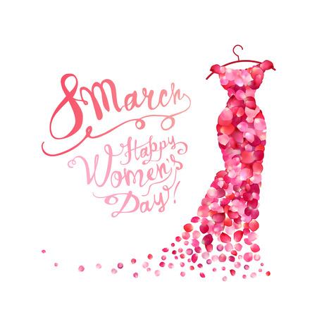 Ilustración de Happy woman's day! 8 March holiday. Dress of pink rose petals - Imagen libre de derechos