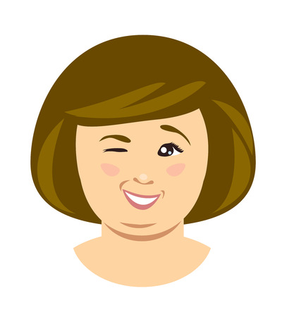 Funny overweight woman wink. Vector flat illustration