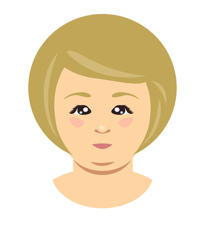 Blonde overweight woman face. Vector flat illustration