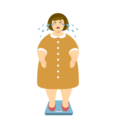 Fat woman cries on the weighing scales. Fighting excess weight vector illustration