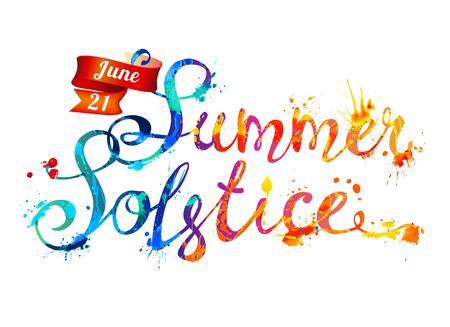 Summer solstice. June 21. Hand written vector doodle font inscription of splash paint letters
