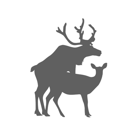 Illustration for Silhouette of mating deers. Flat vector icon - Royalty Free Image