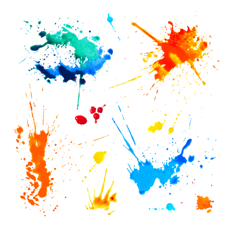 Illustration for Set of colorful blots on white background. Watercolor splah paint - Royalty Free Image