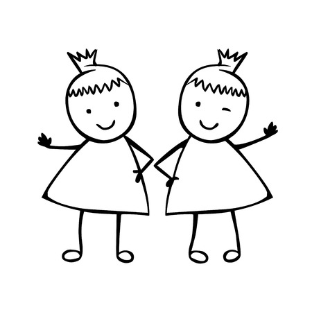Illustration for Twins girls. Sisters. Linear vector people in the children's style - Royalty Free Image