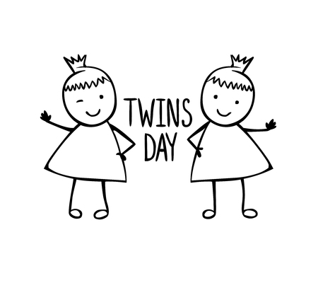 Illustration for Twins day. Congratilation card with linear vector girls in the children's style - Royalty Free Image