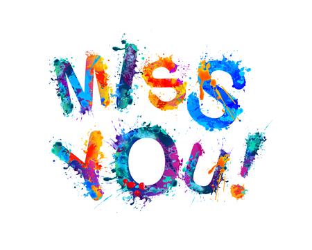 Illustration pour Miss you. Vector inscription of watercolor splash paint letters - image libre de droit