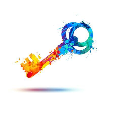 Ilustración de Key icon. Vector watercolor splash paint symbol - Imagen libre de derechos
