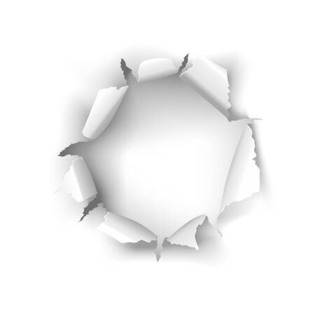 Illustration for Vector torn white paper hole on a white background - Royalty Free Image