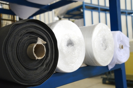 Fabric rolls in a factory