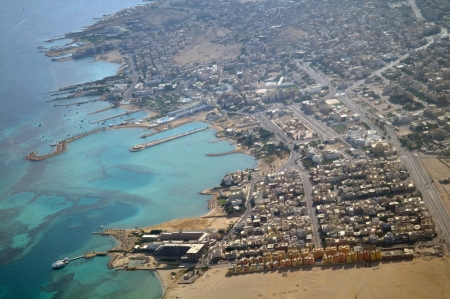 Hurghada town on Red Sea from air view