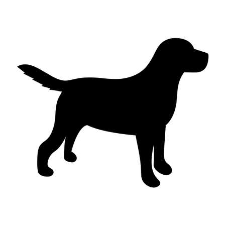 Illustration pour Black silhouette of a dog on a white background. Vector illustration. - image libre de droit