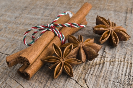 Star anise with cinnamon at christmas time  selective focus