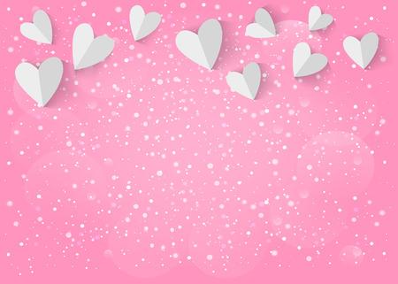 Photo pour White paper 3d heart on pink background.  - image libre de droit