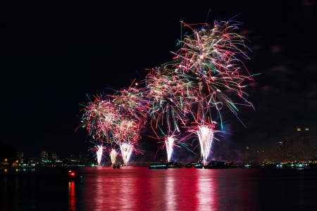 4th of July Fireworks on Hudson River, New York
