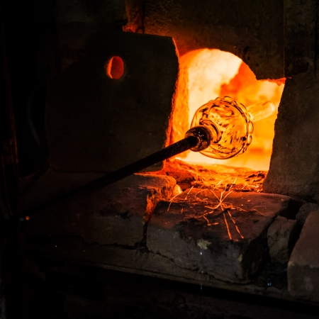 Glass manufacturing in a Murano oven