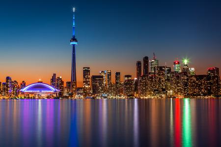 Toronto skyline at dusk, viewed from Toronto Island park