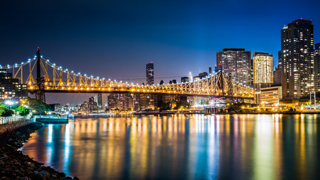 Queensboro bridge by night viewed from Roosevelt island, New York