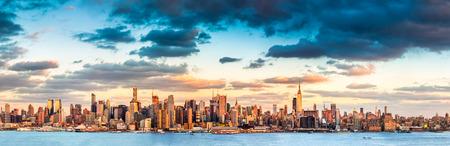 Panoramic view of the midtown Manhattan skyline before sunset