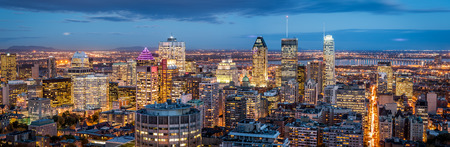 Photo for Montreal panorama at dusk as viewed from the Mount Royal - Royalty Free Image