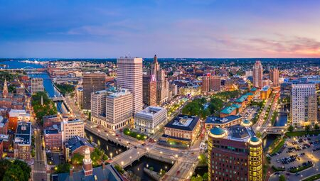 Photo pour Aerial panorama of Providence skyline at dusk. Providence is the capital city of the U.S. state of Rhode Island. Founded in 1636 is one of the oldest cities in USA. - image libre de droit