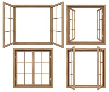 Foto de Collection of isolated wodden windows - Imagen libre de derechos