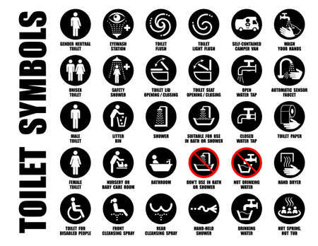 Illustration pour Vector collection of black WC pictograms isolated on white, Symbols of hand wash, water tap, mobile toilet, bath, shower, bowl, paper, bin icons - image libre de droit