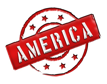 Sign and stamp named AMERICA for your presentation, for websites and many more