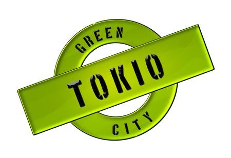 GREEN CITY TOKIO - Zeichen, Symbol, Banner fuer Prospekte, Flyer, Internet,