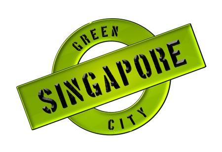 GREEN CITY SINGAPORE - Zeichen, Symbol, Banner fuer Prospekte, Flyer, Internet,