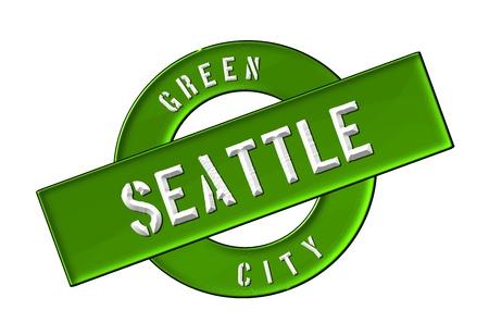 GREEN CITY SEATTLE - Zeichen, Symbol, Banner fuer Prospekte, Flyer, Internet,