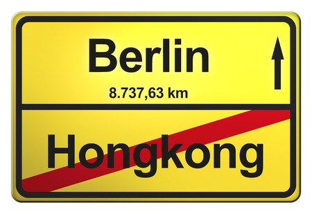 German yellow city limit sign with the distance to another big city