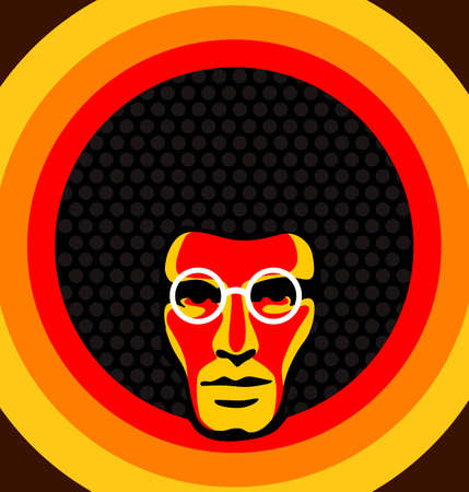 Illustration for Soul man - Retro vector illustration of a male with afro hair. - Royalty Free Image