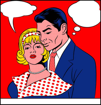 Lovers - Pop art vector painting of a man and a woman in love.