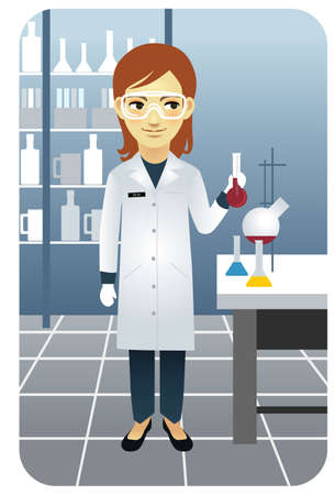 Vector illustration of a female researcher working in the laboratory, holding a beaker. More active people in my portfolio.