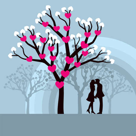 Winter Love Tree - Lovely vector illustration of lovers kissing under a love tree.