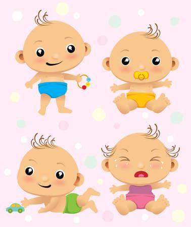 Foto de Cute cartoon set with new born babies. - Imagen libre de derechos