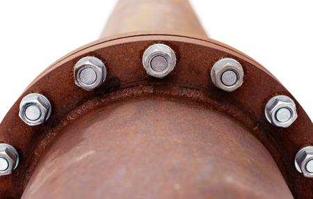 Photo pour rusty pipe with flange - image libre de droit