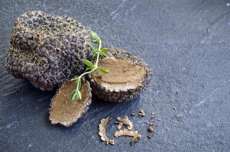 Photo pour rare and expensive black truffle on a black background - image libre de droit